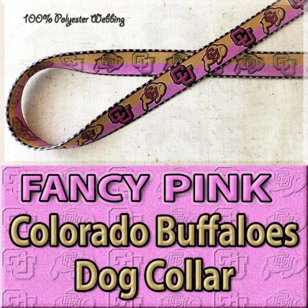 FANCY PINK Colorado Buffaloes Polyester Webbing Dog Collar Product Image No1