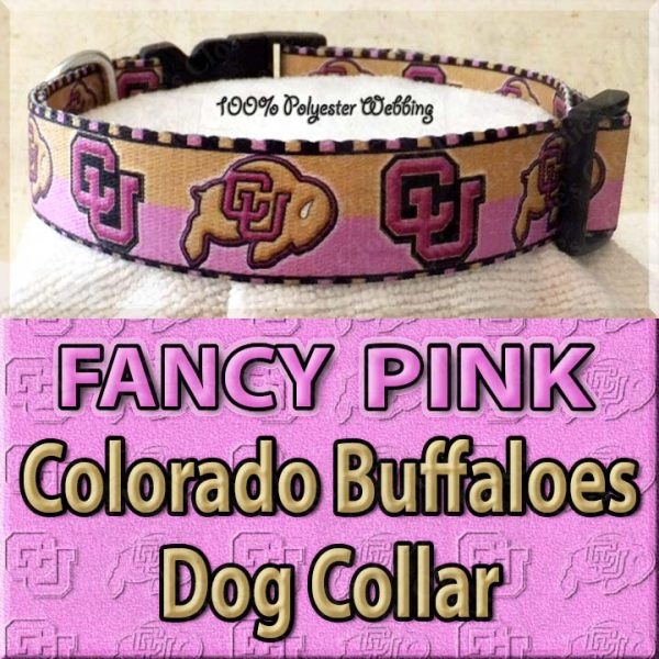 FANCY PINK Colorado Buffaloes Polyester Webbing Dog Collar Product Image No2