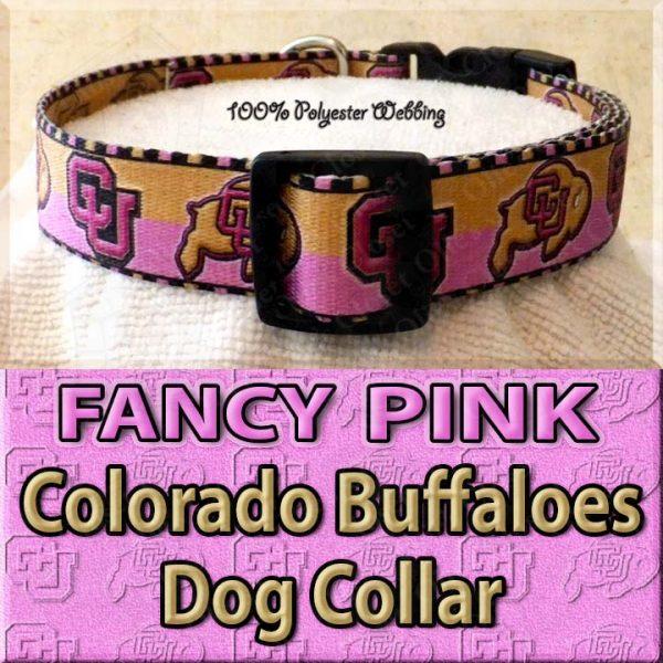 FANCY PINK Colorado Buffaloes Polyester Webbing Dog Collar Product Image No3