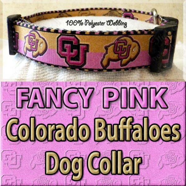FANCY PINK Colorado Buffaloes Polyester Webbing Dog Collar Product Image No4