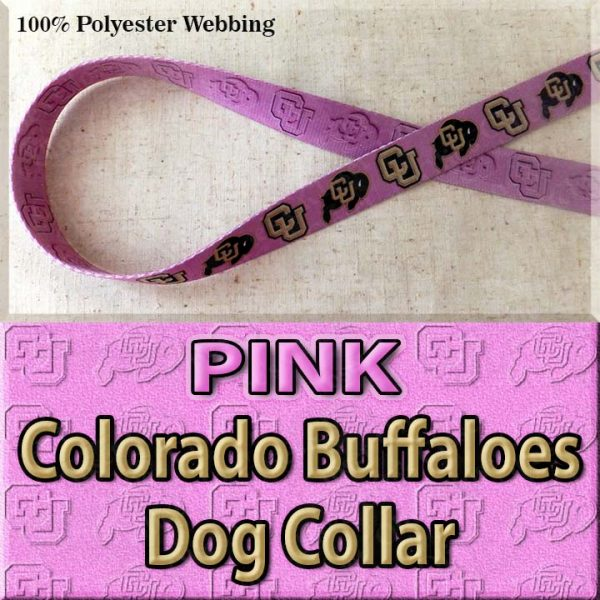 PINK Colorado Buffaloes Polyester Webbing Dog Collar Product Image No1