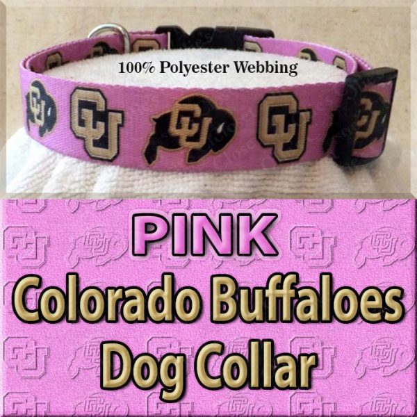PINK Colorado Buffaloes Polyester Webbing Dog Collar Product Image No2
