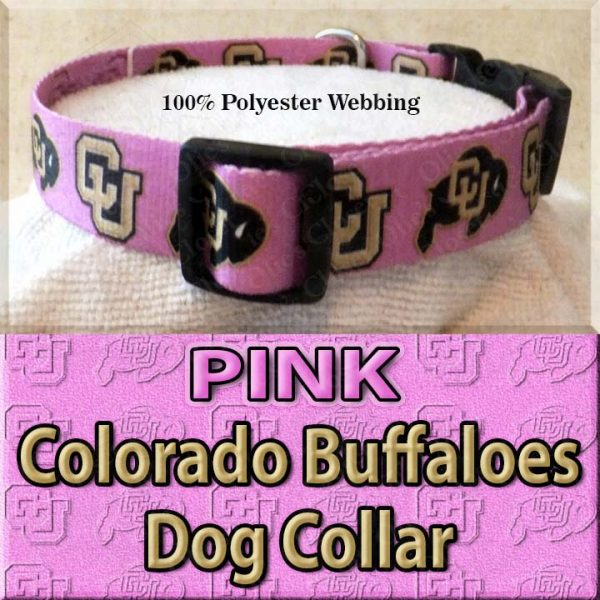 PINK Colorado Buffaloes Polyester Webbing Dog Collar Product Image No3