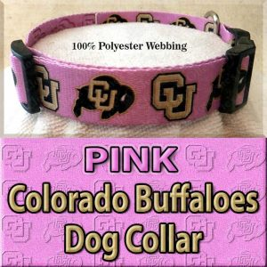 PINK Colorado Buffaloes Polyester Webbing Dog Collar Product Image No4