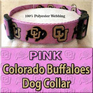 PINK Colorado Buffaloes Polyester Webbing Dog Collar Product Image No4