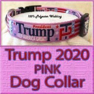 PINK Trump 2020 for President Designer Polyester Webbing Dog Collar Product Image No3