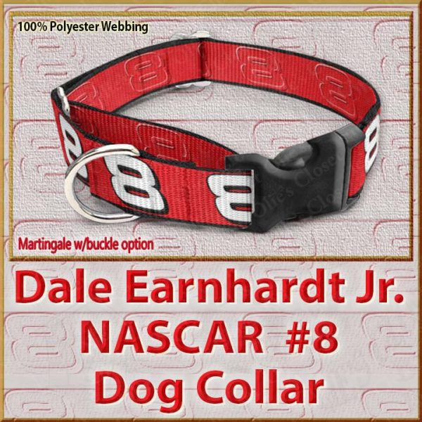 Dale Earnhardt Jr Fan NASCAR Number 8 Polyester Webbing Dog Collar Product Image No1