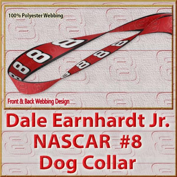 Dale Earnhardt Jr Fan NASCAR Number 8 Polyester Webbing Dog Collar Product Image No3