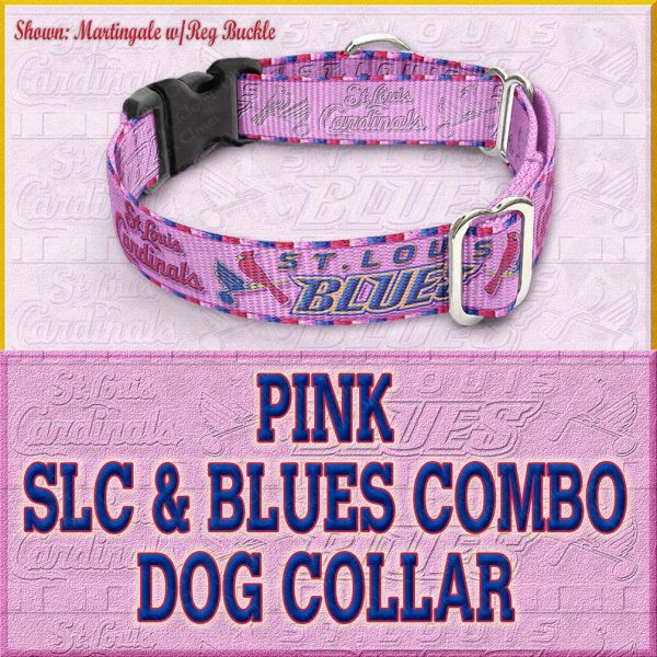 PINK SLC Blues Combo Custom Design Request Dog Collar Product Image No6