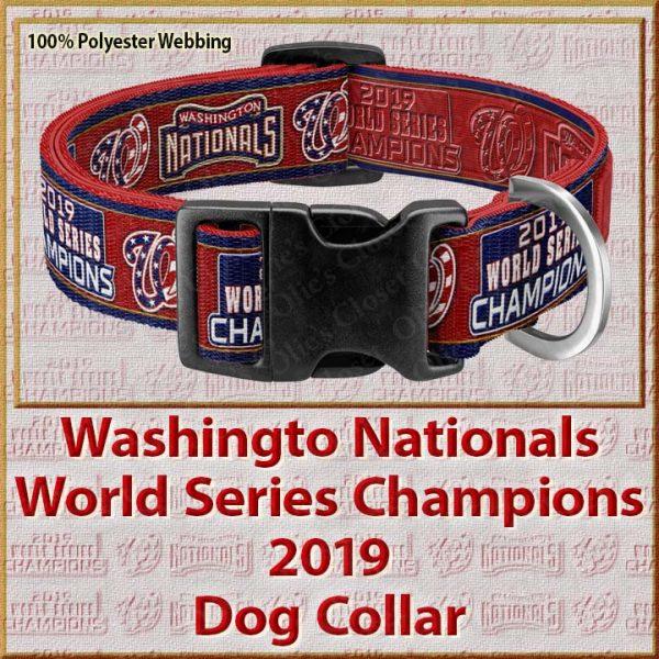 Washington Nationals World Series Champions 2019 Polyester Webbing Dog Collar Product Image No4