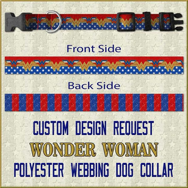 Wonder Woman Custom Design Request Dog Collar Product Image No1