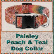 Paisley Peach Teal Designer Dog Collar Product Image No1