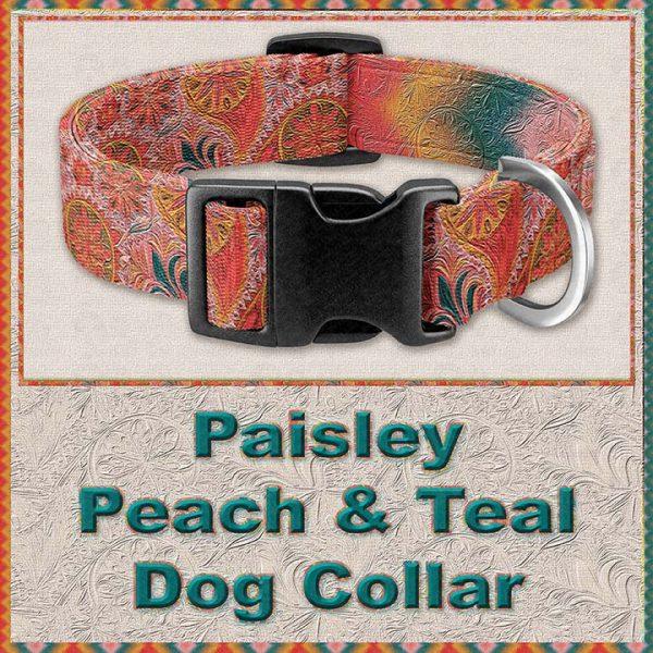 Paisley Peach Teal Designer Dog Collar Product Image No1