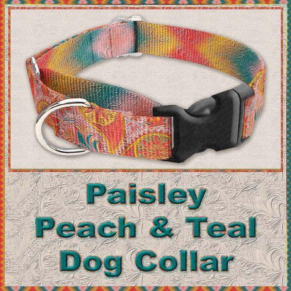 Paisley Peach Teal Designer Dog Collar Product Image No2
