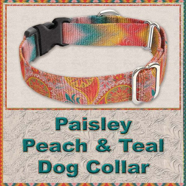 Paisley Peach Teal Designer Dog Collar Product Image No3