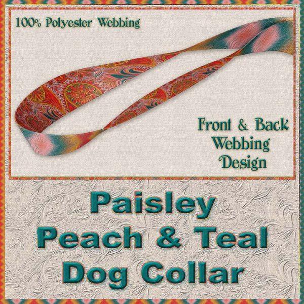 Paisley Peach Teal Designer Dog Collar Product Image No4