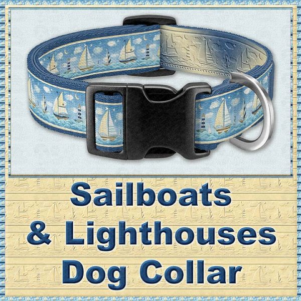 Sailboats and Lighthouse Designer Dog Collar Product Image No1