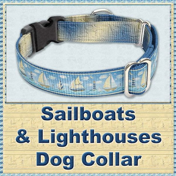 Sailboats and Lighthouse Designer Dog Collar Product Image No2