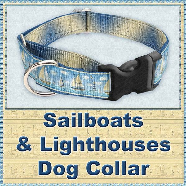 Sailboats and Lighthouse Designer Dog Collar Product Image No3