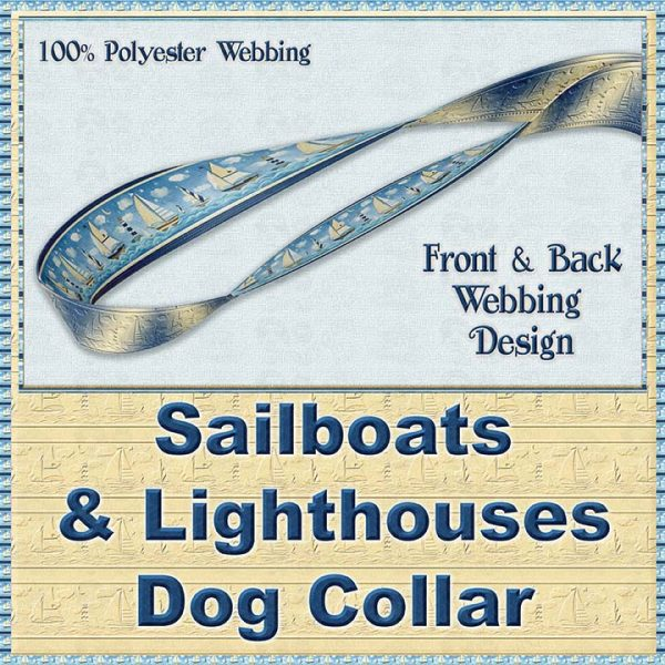 Sailboats and Lighthouse Designer Dog Collar Product Image No4