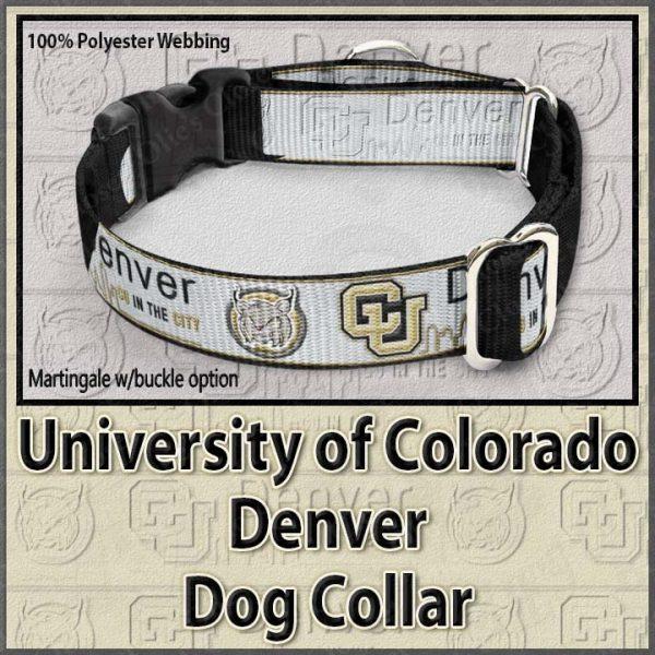 University of Colorado Denver Lynx Polyester Webbing Dog Collar Product Image No1