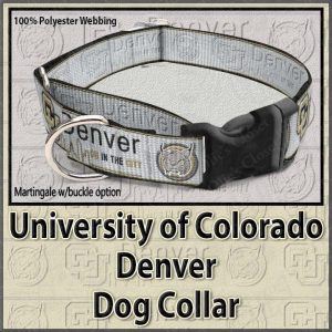 University of Colorado Denver Lynx Polyester Webbing Dog Collar Product Image No2