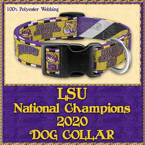 LSU Tigers National Champions 2020 Designer Dog Collar Product Image No1