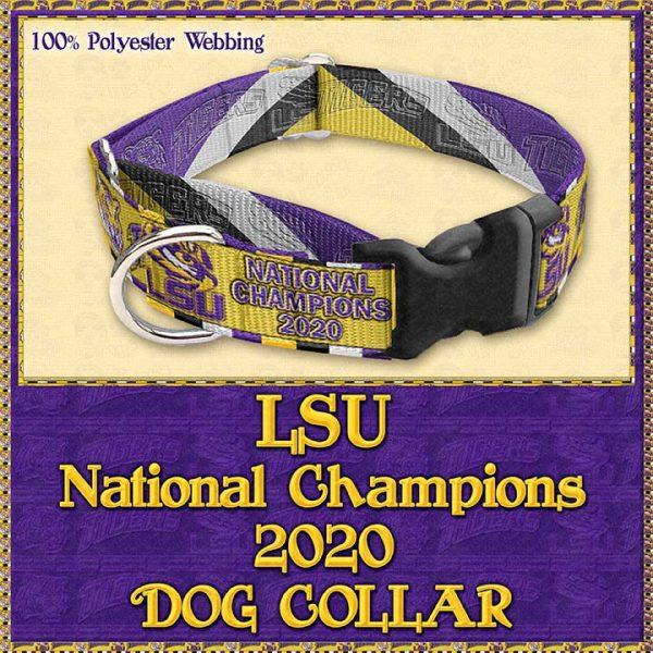 LSU Tigers National Champions 2020 Designer Dog Collar Product Image No2