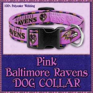Pink Baltimore Ravens Designer Dog Collar Product Image No1