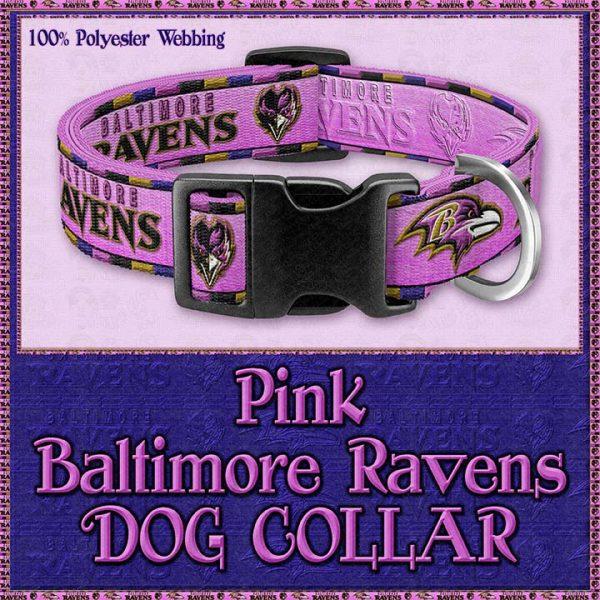 Pink Baltimore Ravens Designer Dog Collar Product Image No1