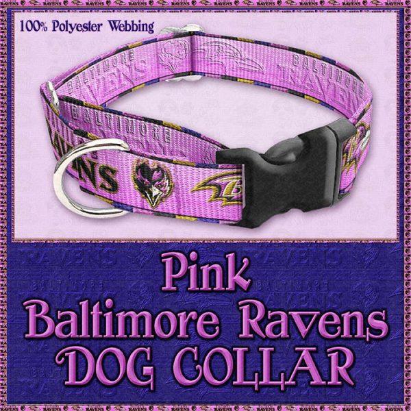 Pink Baltimore Ravens Designer Dog Collar Product Image No3