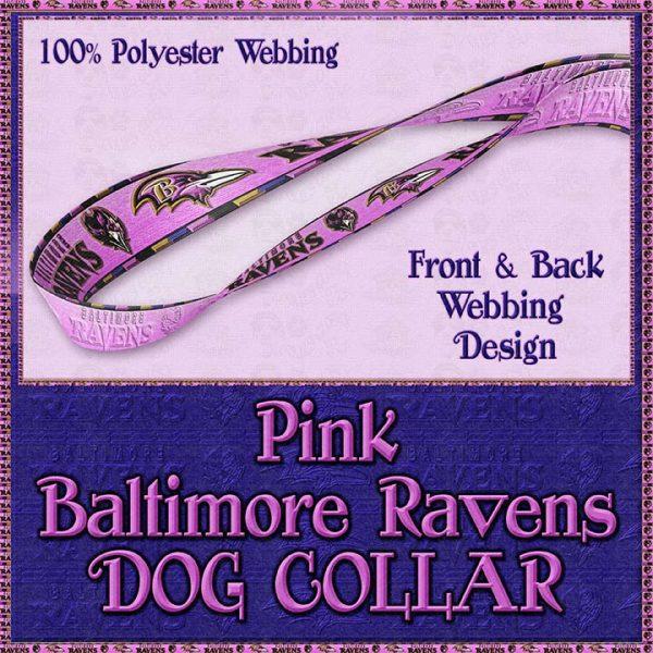 Pink Baltimore Ravens Designer Dog Collar Product Image No4