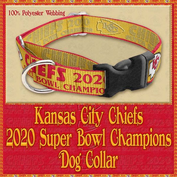 Kansas City Chiefs Super Bowl Champions 2020 Designer Dog Collar Product Image No2