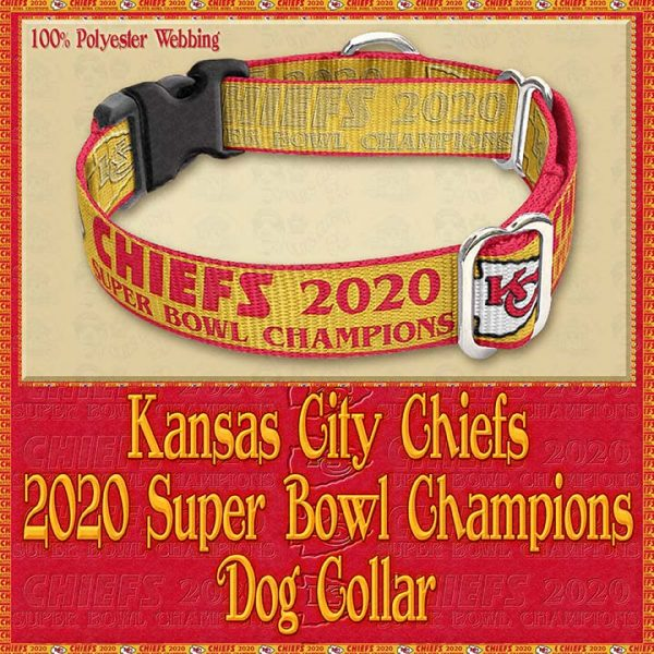 Kansas City Chiefs Super Bowl Champions 2020 Designer Dog Collar Product Image No3