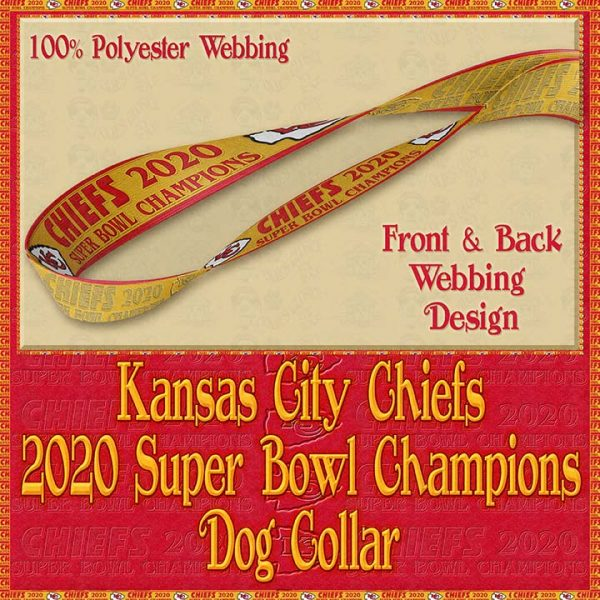 Kansas City Chiefs Super Bowl Champions 2020 Designer Dog Collar Product Image No4