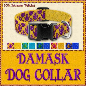 Damask Designer Dog Collar Product Image No1