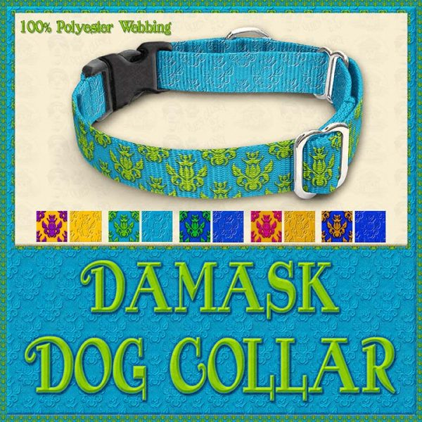 Damask Designer Dog Collar Product Image No2