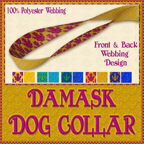 Damask Designer Dog Collar Product Image No4