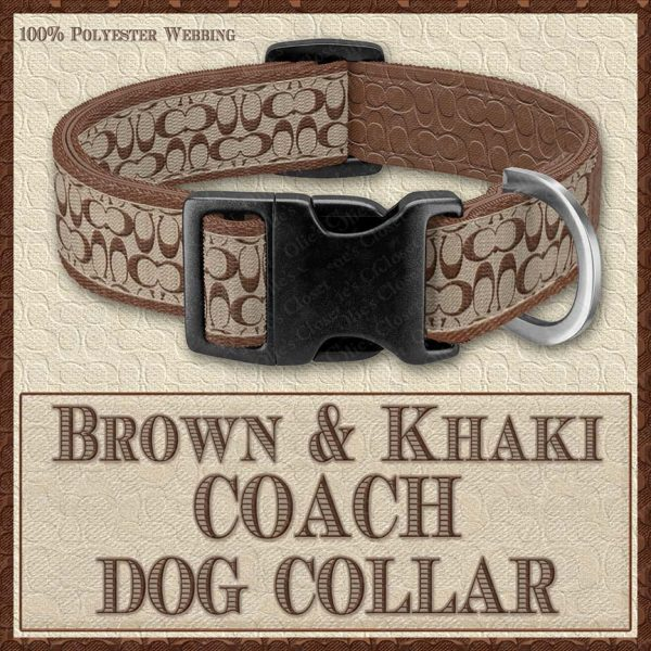 COACH Brown Khaki Classic Designer Dog Collar Product Image No1