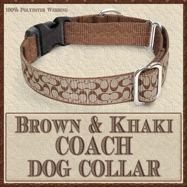 COACH Brown Khaki Classic Designer Dog Collar Product Image No2