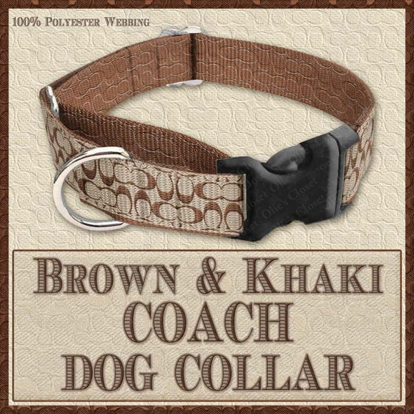 COACH Brown Khaki Classic Designer Dog Collar Product Image No3