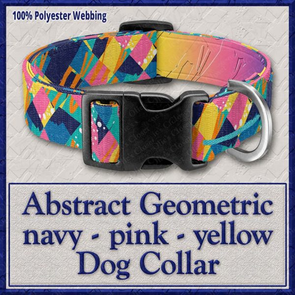 Abstract Gemometric Pink Navy Yellow Designer Dog Collar Product Image No1