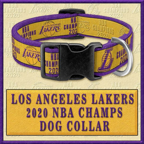 LA Los Angeles Lakers 2020 NBA Champions Designer Dog Collar Product Image No1