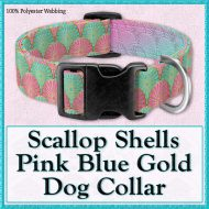 Scallop Shells Pink Blue Designer Dog Collar Product Image No1