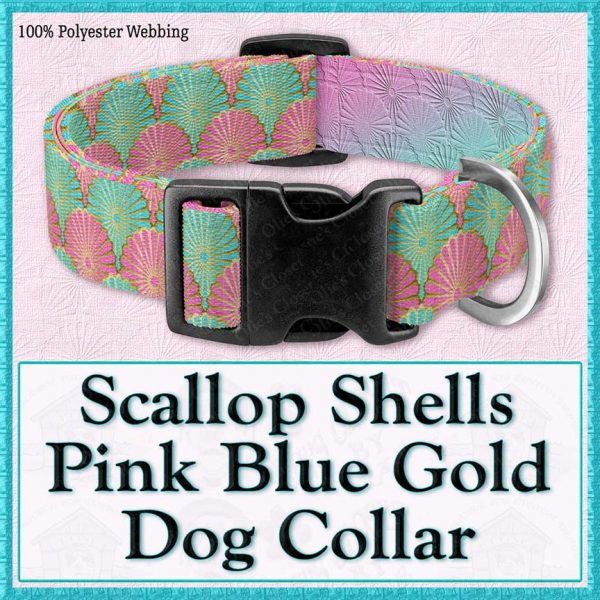 Scallop Shells Pink Blue Designer Dog Collar Product Image No1