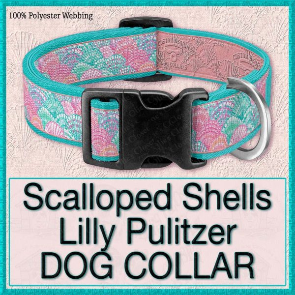 Scallops Seashells Lilly Pulitzer Designer Dog Collar Product Image No3