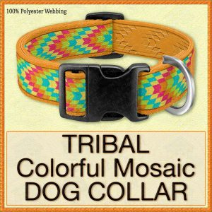 Tribal Colorful Mosaic Designer Dog Collar Product Image No1