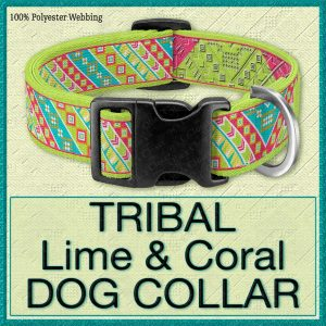 Tribal Lime Coral Designer Dog Collar Product Image No1