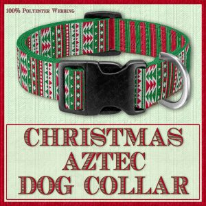 Christmas Aztec Designer Dog Collar Product Image No1