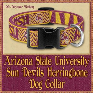Arizona State University Sun Devils Herringbone Designer Dog Collar Product Image No1